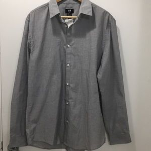 NWT H&M Slim Fit Easy Iron Grey Button Down